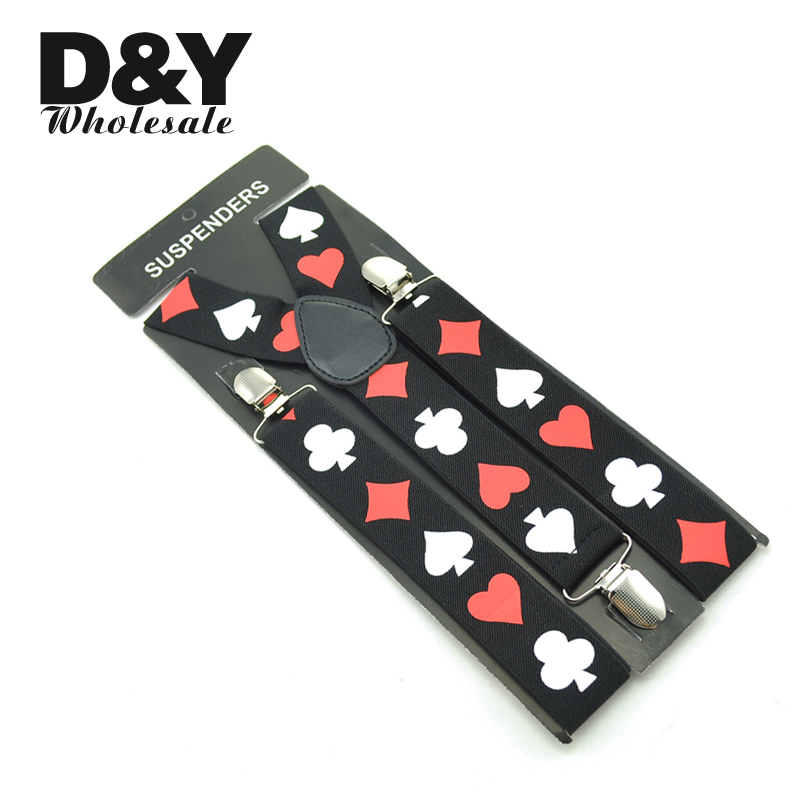 Fashion Playing Cards Poker Cards Design Suspender 3.5cm Wide Suspenders For Man Unisex Clip-on Braces Elastic Suspensorio Belt