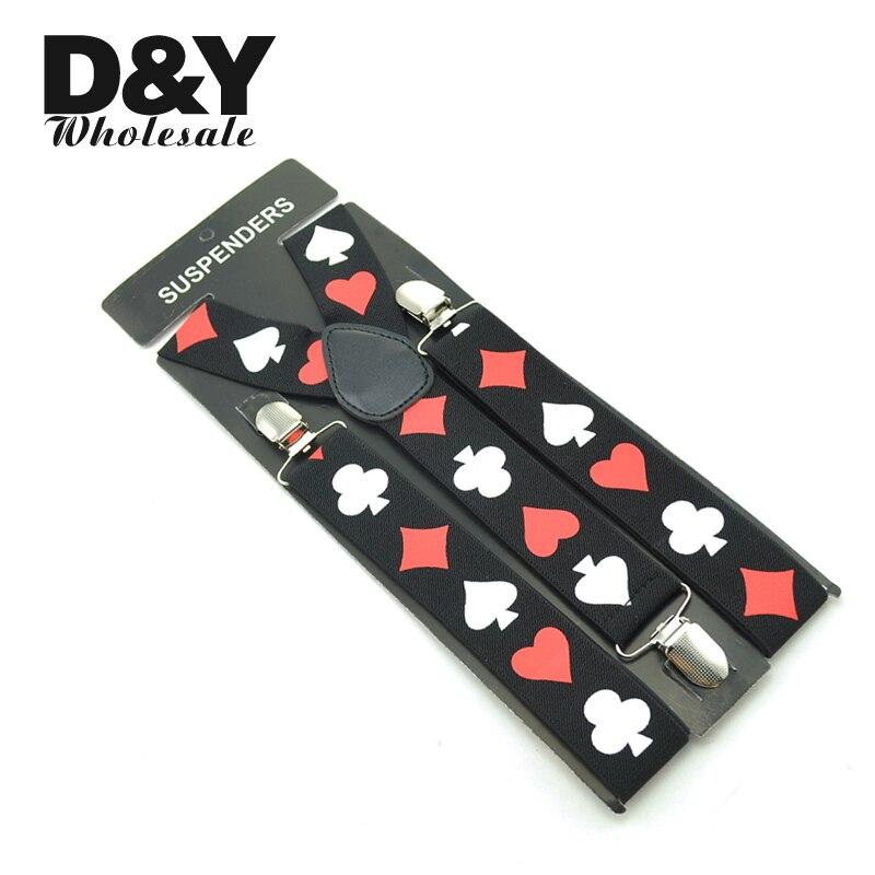 Suspenders For Men Clip-On Braces Elastic Suspender For Trousers Pants Holder 3.5cm Belt Playing Cards Poker Cards Braces Gallus