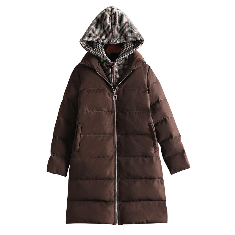 New Winter   Parkas   Abrigos Mujer Invierno 2018 Plus Size Hooded Coats Cotton Brown Letters Jacket Womens Outwear Coat 8564