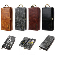 Universal oil wax sheep skin for i8 multi function zipper wallet bag mobile phone leather case for Samsung S9 protective cover