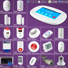 DIY K52 4.3 Touch Screen WIFI GSM Alarm System Security Alarm APP Control PIR Sensor Door Sensor Smoke Alarm Flash Siren kerui g18 built in antenna alarm pir motion detector wireless smoke flash siren lcd gsm sim card house security alarm system