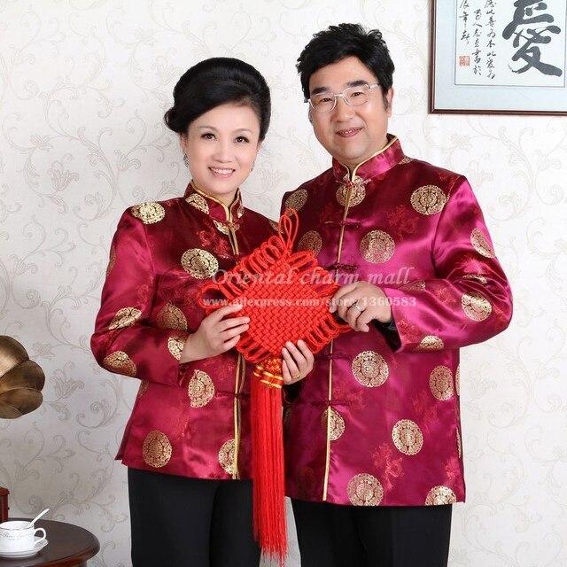 Новый Китайский Традиционный Пятидесяти Лет одежда мужчины женщины старости тан костюм любителей осенью и зимой куртка