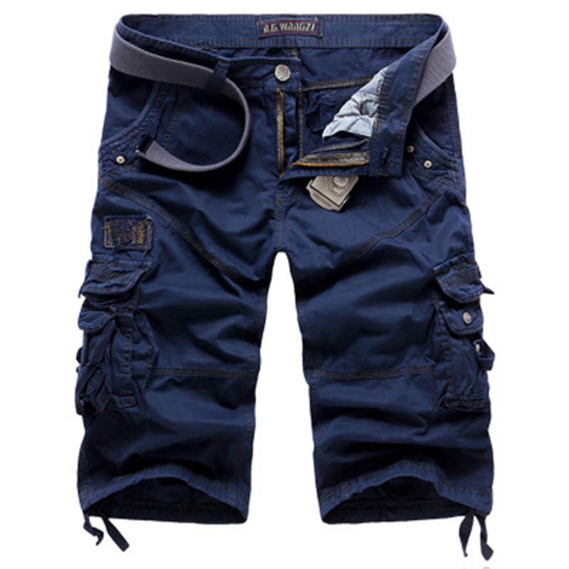 Summer Loose Cargo Shorts Men Large Size Multi-pocket Military Short Pants Overalls Men Summer Beachwear Cotton Washed Shorts