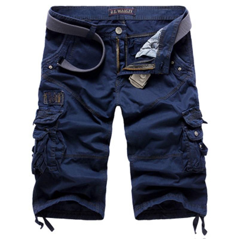 Summer Loose Cargo Shorts Men Large Size Multi-pocket Military Short Pants Overalls Men Summer Beachwear Cotton Washed Shorts