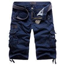 Summer loose cargo shorts men large size multi-pocket military short pants overalls summer beachwear cotton washed