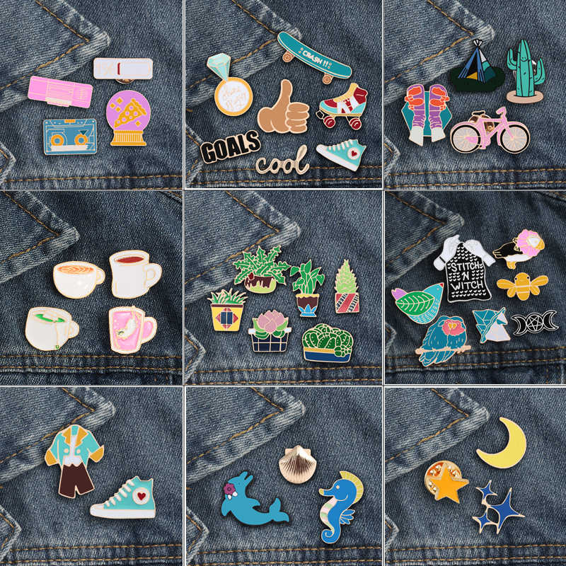 2 ~ 7 Pcs/set Kartun Enamel Bros Pot Burung Moon Sepatu Piala Tombol Logam Kerah Pin Lencana Bros Denim Ransel fashion Perhiasan