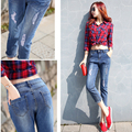 New Arrive Plus Size High Elastic and Waist Women Jeans Blue color pencil style make shape look skinny  Summer Autumn wearing
