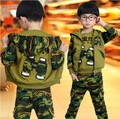 Ropa para niños niños carta de primavera casual y otoño conjunto 2016 deportes prendas de vestir exteriores ocasional bebé camuflaje 3 unidades set 3-12Y