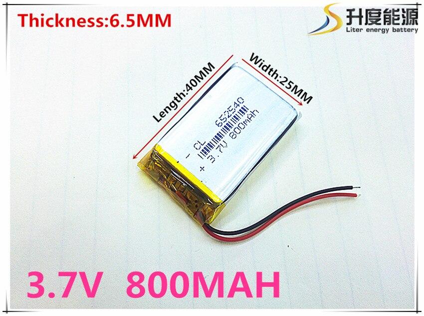 Pequena capacidade baterias recarregáveis li-ion 3.7 v 800 mah 652540 para brinquedos LJ