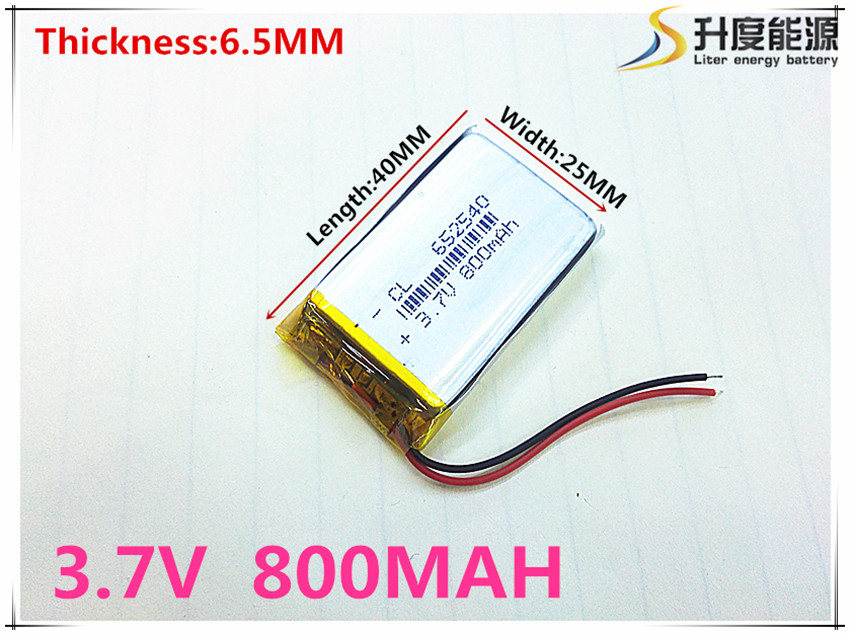 Piccola capacità batterie li-ion ricaricabili 3.7 v 800 mah 652540 per i giocattoli LJ