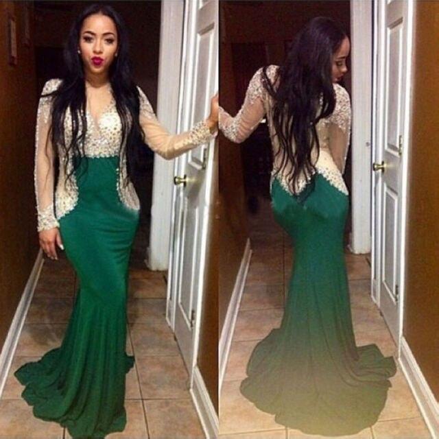 95d183b5e04 Sparkly Prom Dress Mermaid See Through V Neck sweep Train Green Long  Sleeves Rhinestone evening Dresses Party Dress