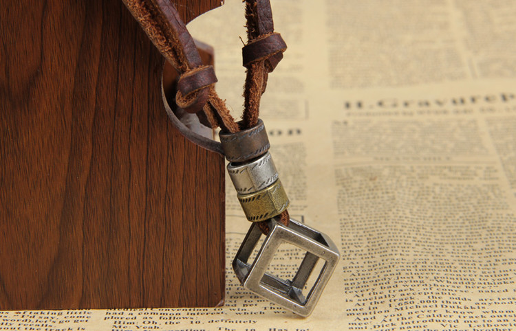 100% Genuine Leather Necklaces Pendants With Box Punk Vintage Adjustable Brown Rope Chain Male Jewelry Mens Jewellery Sautoir (8)