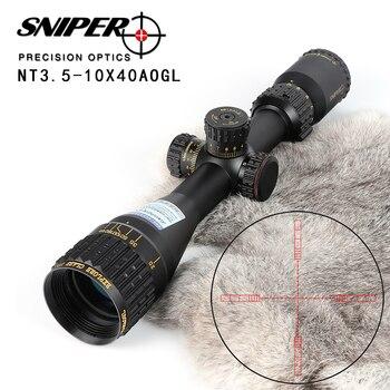 NT 3.5-10X40 AOGL Caça Riflescopes SNIPER Tactical Mira Óptica Full Tamanho do Vidro Gravado Retículo RGB Iluminado rifle Scope