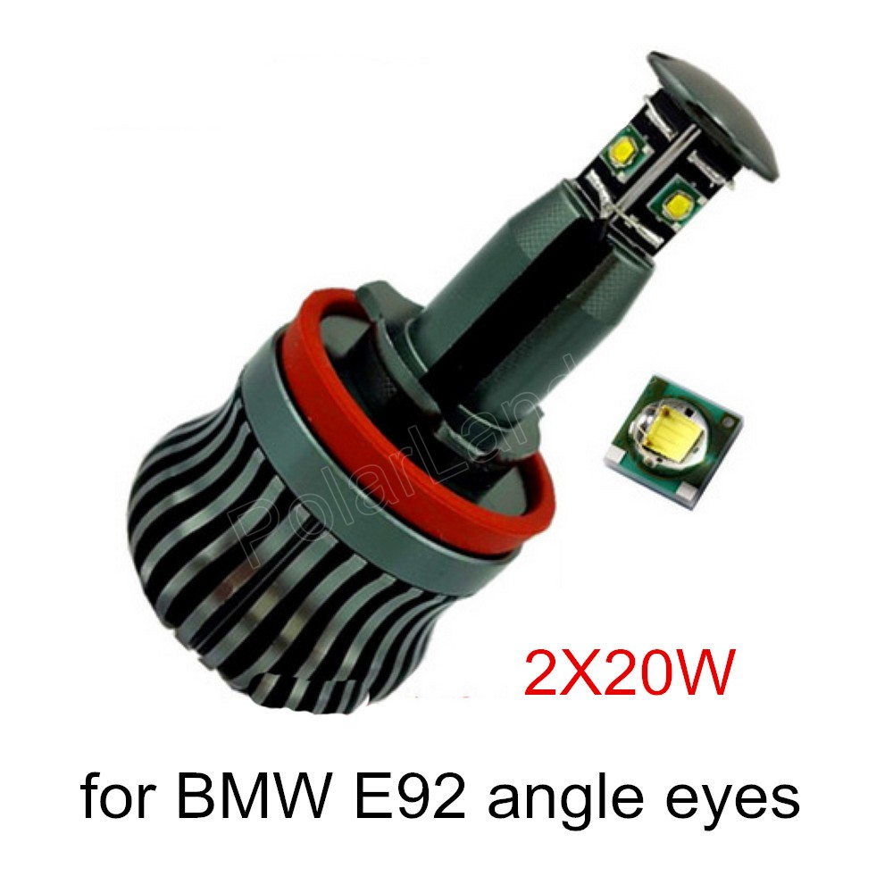 ФОТО H8 20WX2 LED Angel Eye Halo Light marker for BMW E60 E61 E63 E64 E70 X5 E71 X6 E82 E87 E89 Z4 E90 E91 E92 E93