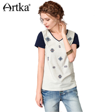 ARTKA Women's 2018 Summer 2 Colors Ethnic Printed Embroidery T-shirt Fashion V-Neck Short Sleeve Comfy All-match Tees