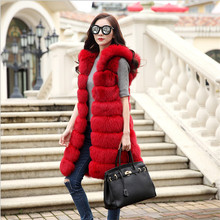 Fur Coat Fur Vest Women Winter Faux Fur Vest Warm 2017 Autumn Winter Sleeveless Long Black Faux Fur Coats For Women M1411