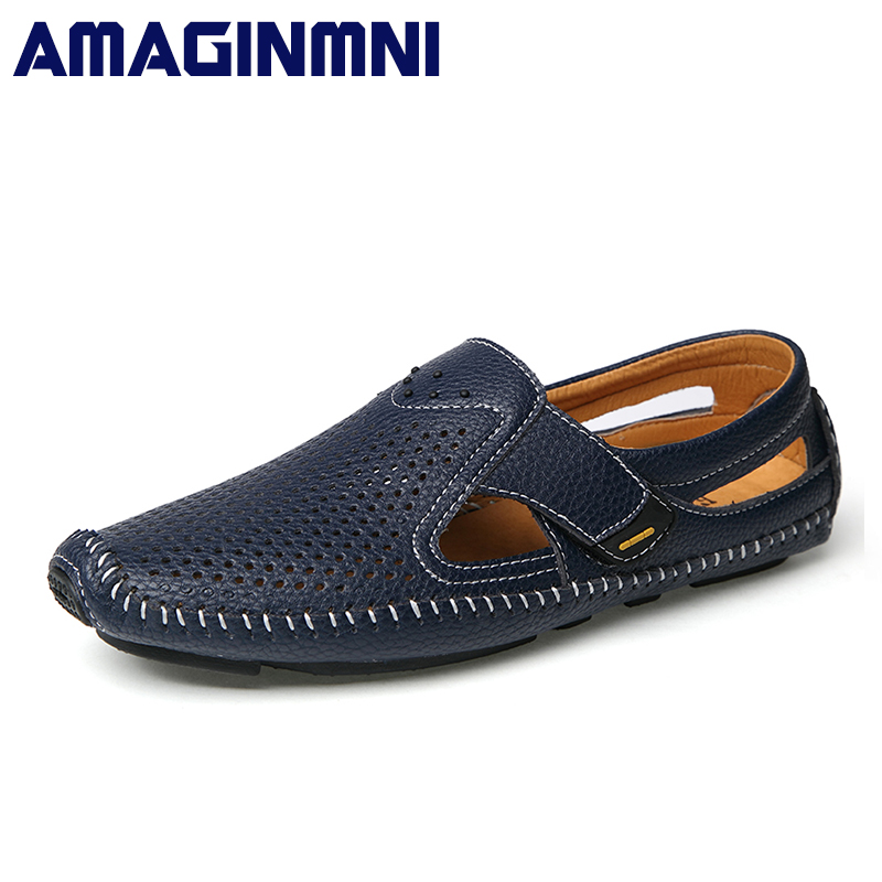 AMAGINMNI 2018 Summer Style Genuine Leather Hasp Driving Boat Shoes For Men Loafers Breathable Soft Flats Casual Shoes Men