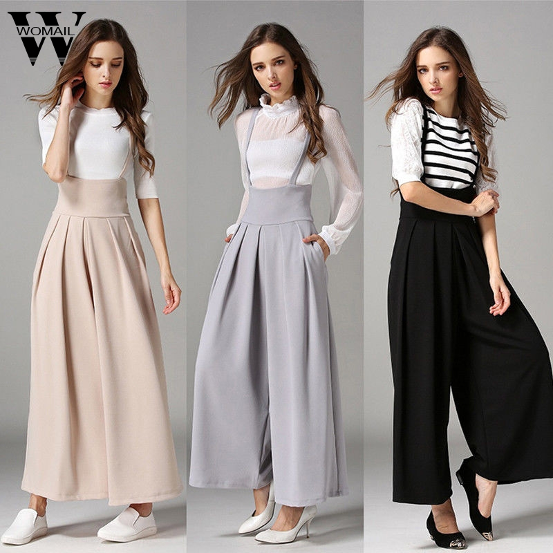 Womail Bodysuit Women Summer Casual Pleated High Waisted Wide Leg Palazzo Suspenders Trousers  Fashion New 2019 Dropship M1