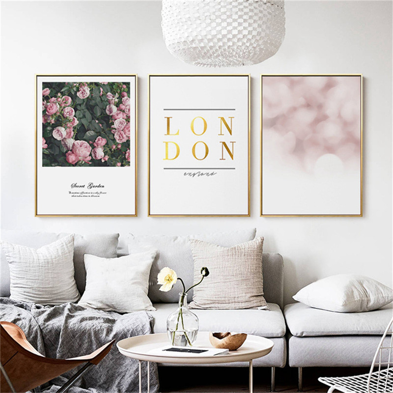 Home Decor Nordic Canvas Painting Wall Art Diy Rose Flower Letter