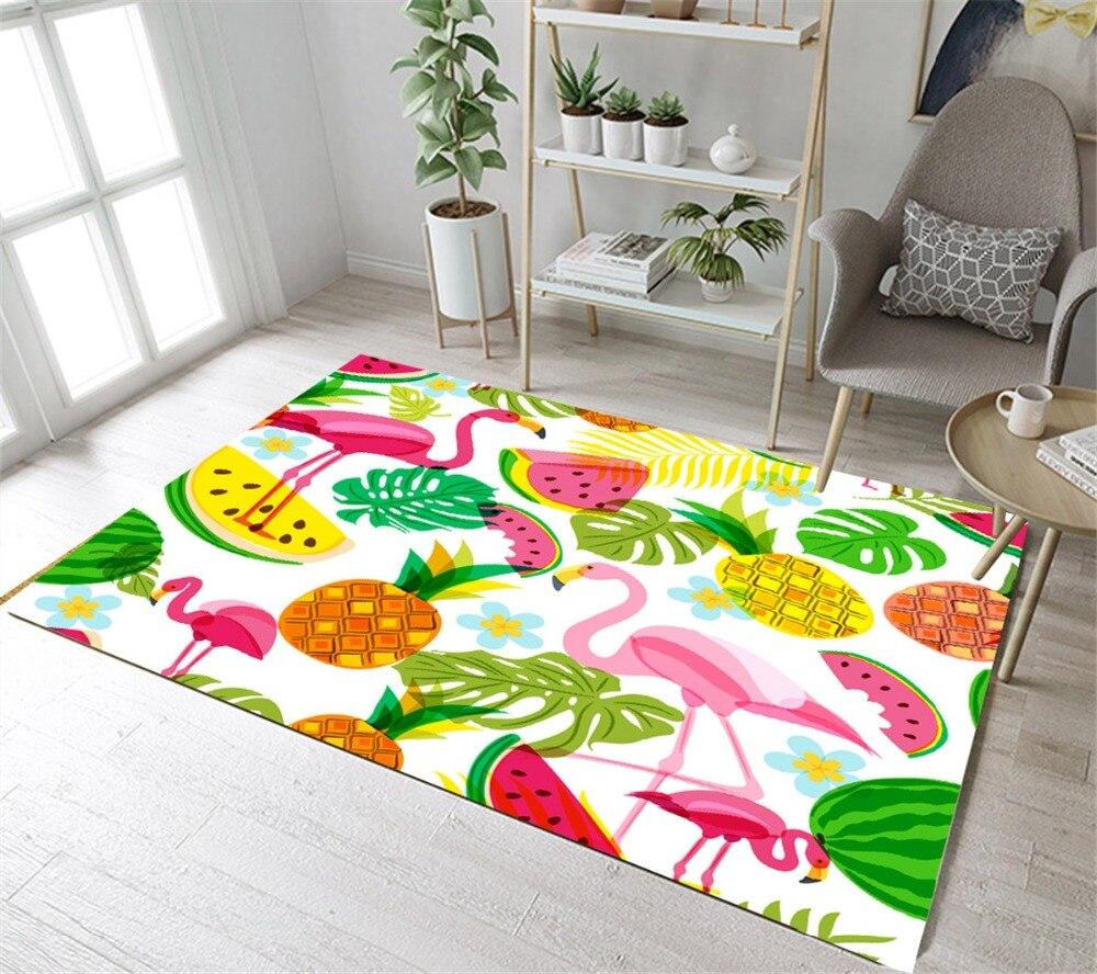 Red Tropical Flamingos Living Room Floor Mat Anti-skid Area Rug Home Soft Carpet