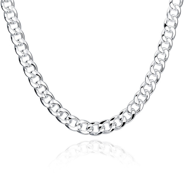 Chain Male Men Jewelry 24 inches 10MM Choker Statement Necklaces Women Silver Plated Vintage Collier Colar Masculino QA0712