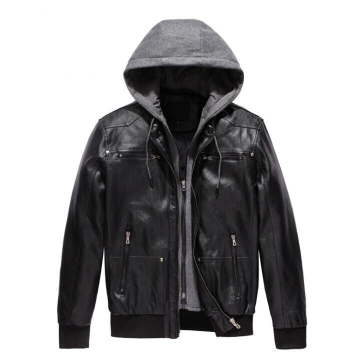 Icpans Faux Leather Jacket Men Motorcycle PU Leather Jacket Hooded Jacket Men Biker Jacket Black jaqueta de couro masculina