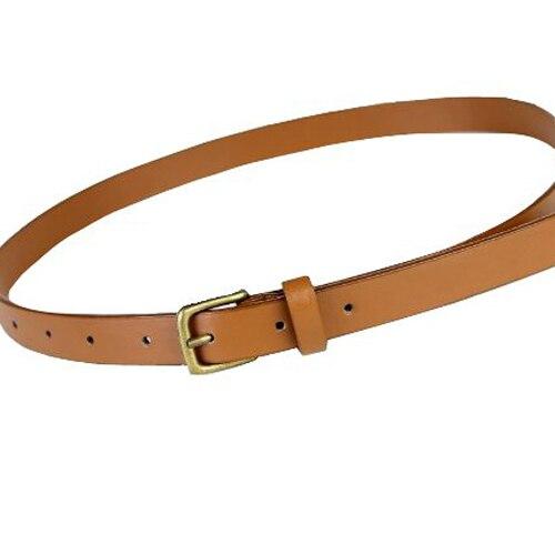 NEW Girls Ladies Skinny Slim Narrow Belt Dress Belt - Tan