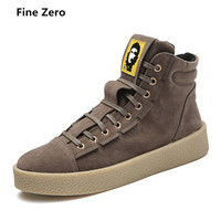Fine Zero Male Autumn British Style Flock Casual Shoes Men Red Grey Black Khaki High Tops