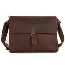 7084LB High Quality Genuine Crazy Horse Leather Men Messenger Bags For Men's Shoulder Bag