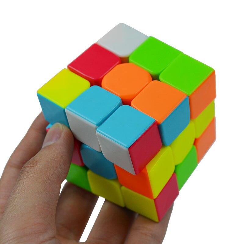 Красочные 3x3x3 три слоя Magic Cube Profissional конкурс Скорость Cubo номера наклейки головоломка магический куб Прохладный игрушка мальчик