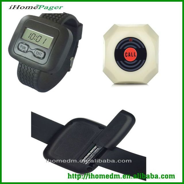 30 bells 5 receivers Most Cheap 1 key button waiter calling system vibrating alarm wrist watch long signal distance