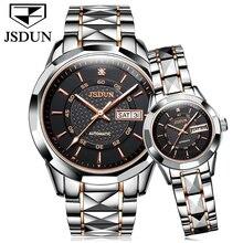 Jsdun Для мужчин Деловые часы лучший бренд класса люкс Бизнес часы Для женщин часы Сталь пояса неделю/дата пара влюбленных Автоматическая наручные часы