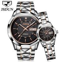 Jsdun Для мужчин Деловые часы лучший бренд класса люкс Бизнес часы Для женщин часы Сталь пояса неделю/дата пара влюбленных Автоматическая нар