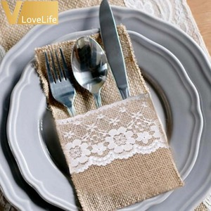 """Image 2 - 100pcs Burlap Lace Cutlery Pouch Wedding Tableware Pouch Party Holder Bag 4"""" x 8"""" Hessian Rustic Jute Table Decoration"""