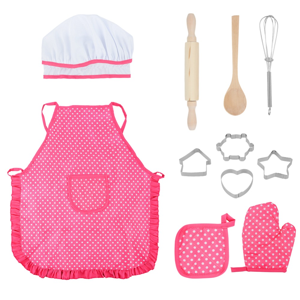 11 Pcs Chef Role Play Set With Dress Up Costume And Kitchen Accessories Kids Pretend Play Toy Set Cookies Toys For Baby Girl