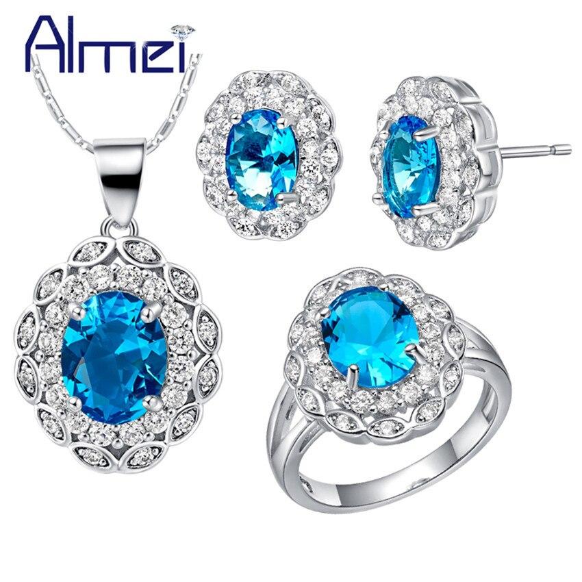 Almei Ring Rhinestones Jewelry-Sets Necklaces Flower Wedding-T495 Silver Bridal-Blue