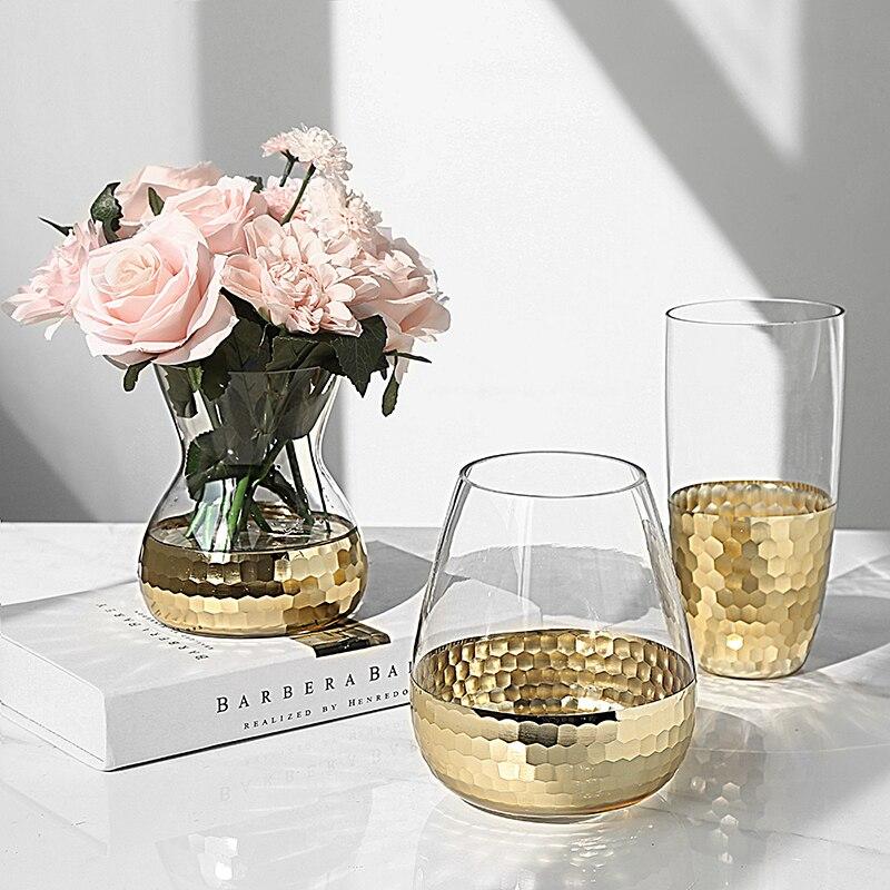 Populaire vases en verre cristal tasses or hexagone mosaïque en métal décor creative cadeau party decor