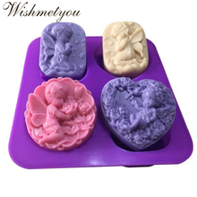 WISHMETYOU Silicone Soap Mold Men And Women Die Angel Cake Chocolate Molds Decorating Tools Handmade