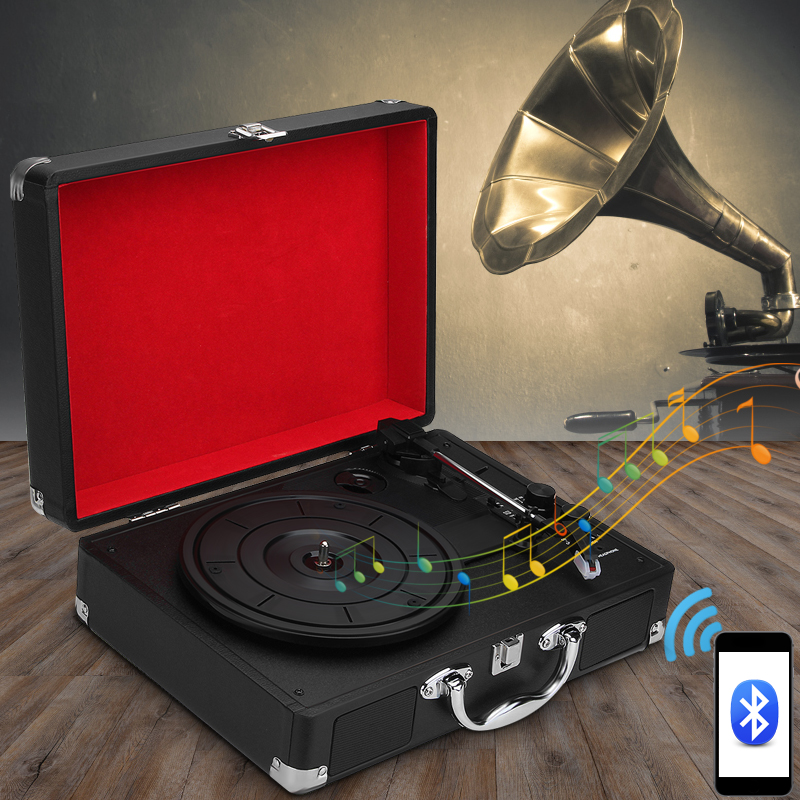 3-Speed Plastic Wood Retro 33/45/78 RPM Bluetooth PH/ INT/ Bluetooth 2.0 Suitcase Turntable Vinyl LP Record Phone Player AUX IN