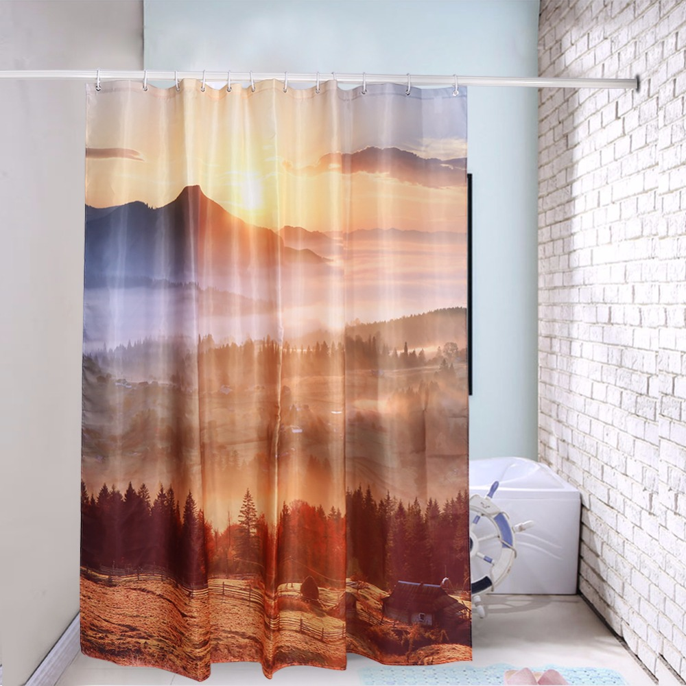 new digital warm sunshine bamboo printing shower curtain. Black Bedroom Furniture Sets. Home Design Ideas