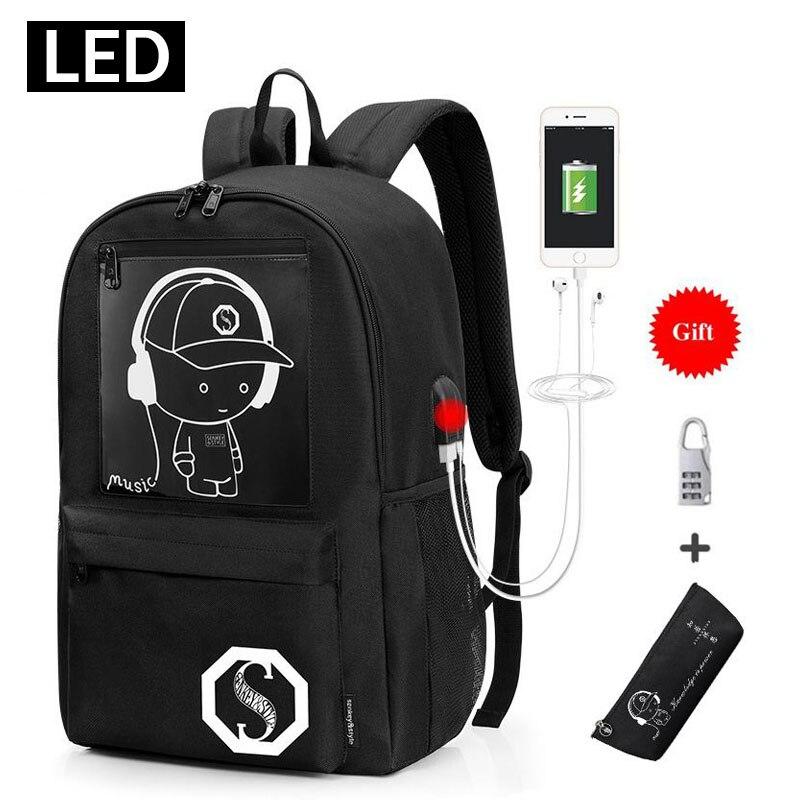 2019 New Kid School Bag Luminous School Backpacks Oxford Multifunction USB Charging Port School Bags For Teenagers Boys Bookbag new style school bags for boys