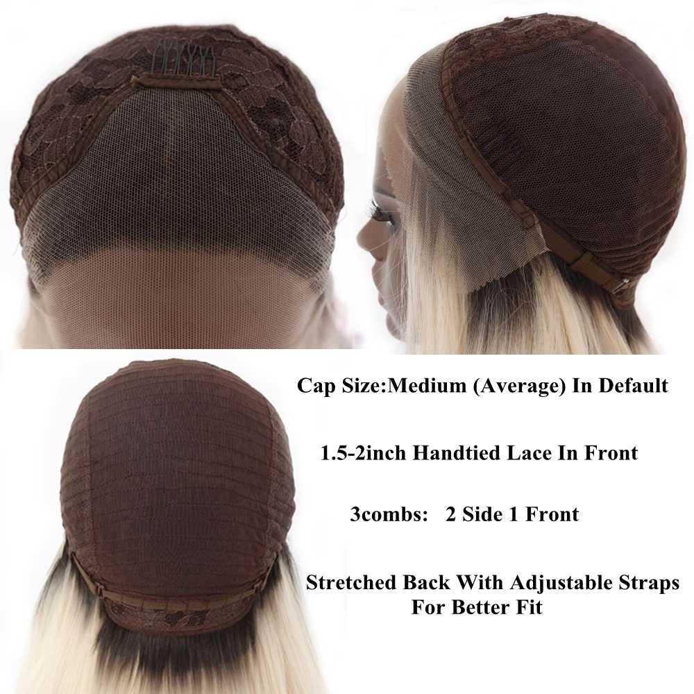 Lvcheryl Омбре синие черные корни бесклеевая Высокая температура волокна волос парики натуральные длинные волнистые синтетические кружева спереди парик для женщин