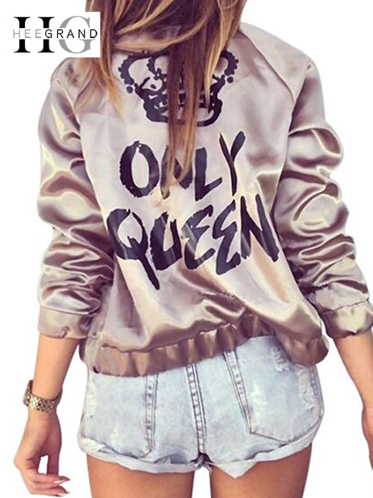 HEE GRAND Women Fashion   Basic     Jacket   Satin Gold Silver Bomber Coats Autumn ONLY QUEEN Crown Letter Print Outerwear WWJ889