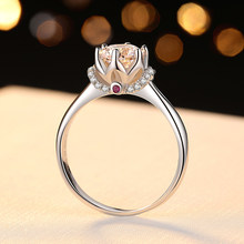 TOP Quality CZ Stone 1CT Hearts and Arrows Cut Ring Engagement Solid 925 Sterling Silver Jewelry Proposal Ring Gift for Lover(China)