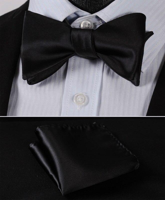 BL1001L Pure Black Solid Classic 100%Silk Jacquard Woven Men Butterfly Self Bow Tie BowTie Pocket Square Handkerchief Suit Set
