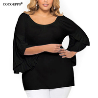 COCOEPPS Off Shoulder Plus Size Autumn Female T Shirt Black Grey Women Tops Cotton Harajuku Casual