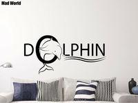 Mad World Dolphin Animal Nursery Marine Bathroom Wall Art Stickers Art Home Decoration Wall Decal Removable