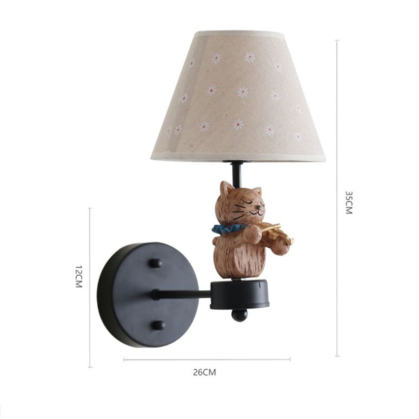 Nordic Children Bedroom Wall Lamps Led Cat Symphony Wall Lights Boy Girl Room Decoration Lamp Christmas Present Birthday Present - 2
