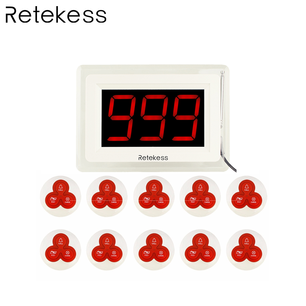 T114 Wireless Pager Coaster Restaurant Call Paging System 1 Host Display 10 Table Bell Button Pager