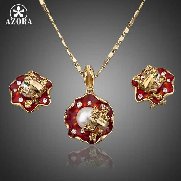 AZORA The Frogs On the Lotus Gold Color Stud Earrings and Necklace Jewelry Sets TG0019